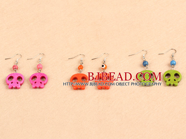 4 Pairs Multi Color Halloween Skull Head Earrings (Random Color & Only One Pair With Anchor Accessory)