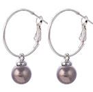 Fashion 10mm Round Purple Colorful Seashell Beads Dangle Earrings With Large Hoop Earwires