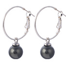 Nice 10mm Round Black Seashell Beads Dangle Earrings With Large Hoop Earwires under $ 40