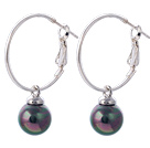 Nice 10mm Round Black Colorful Seashell Beads Dangle Earrings With Large Hoop Earwires