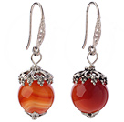 Fashion 12mm Round Faceted Red Agate Ball Flower Cap Charm Dangle Earrings