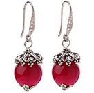 Fashion 12mm Round Faceted Rose Agate Ball Flower Cap Charm Dangle Earrings
