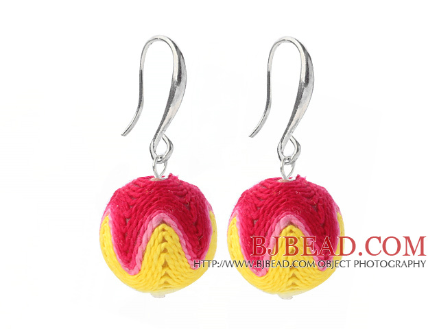Fashion Simple Style 16mm Red Pink Yellow Wool Ball Dangle Earrings With Fish Hook