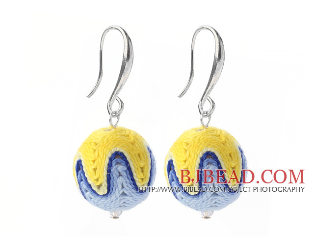 Nice Simple Style 16mm Blue and Yellow Wool Ball Dangle Earrings With Fish Hook