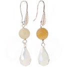 Lovely Round Yellow Air-Slake Agate And White Faceted Drop Shape Opal Crystal Dangle Earrings