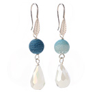 Lovely Round Blue Air-Slake Agate And White Faceted Drop Shape Opal Crystal Dangle Earrings