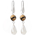 Fashion Round Air-Slake Agate And White Faceted Drop Shape Opal Crystal Dangle Earrings