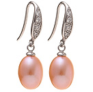Fashion 8-9mm Natural Pink Freshwater Pearl Earrings With 925 Sterling Silver Rhinestone Fish Hook under $ 40