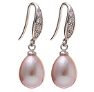 Fashion 8-9mm Natural Purple Freshwater Pearl Earrings With 925 Sterling Silver Rhinestone Fish Hook under $ 40
