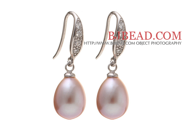 Fashion 8-9mm Natural Purple Freshwater Pearl Earrings With 925 Sterling Silver Rhinestone Fish Hook