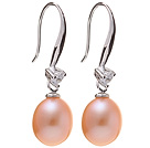 Nice Simple Style 8-9mm Natural Pink Freshwater Pearl Earrings With 925 Sterling Silver Rhinestone Fish Hook under $ 40