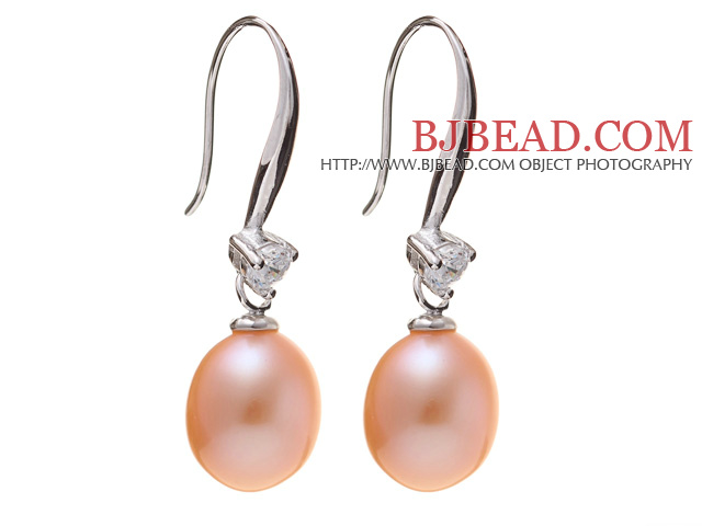 Nice Simple Style 8-9mm Natural Pink Freshwater Pearl Earrings With 925 Sterling Silver Rhinestone Fish Hook