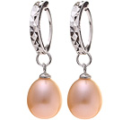 Nice Simple Style 8-9mm Natural Pink Freshwater Pearl Earrings With 925 Sterling Silver Ear Hoops under $ 40