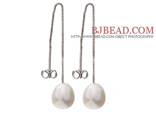 Lovely Simple Style 8-9mm Natural White Freshwater Pearl Dangle Studs Earrings