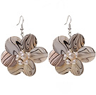 Nice Round Disc Shape White Banded Shell And White Freshwater Pearl Flower Earrings under $ 40