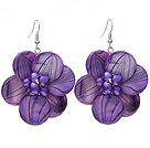 Nice Round Disc Shape Purple Banded Shell And Purple Freshwater Pearl Flower Earrings under $ 40