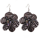 Nice Round Disc Shape White Black Banded Shell And Black Freshwater Pearl Flower Earrings under $ 40