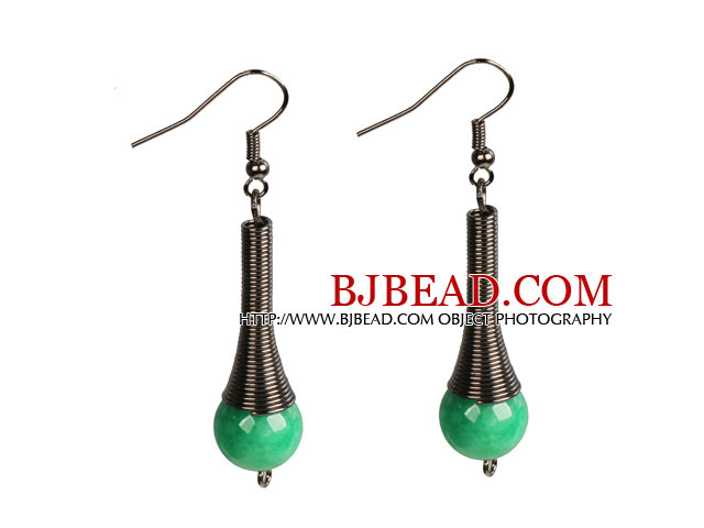 Vintage Style Simple Malaysian Jade Dangle Earrings