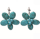Lovely Cluster Blue Turquoise Flower Drop Earrings With Rhinestone Fish Hook