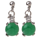 Lovely 8mm Half Round Inlaid Green Malaysian Jade Drop Studs Earrings
