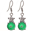 Lovely 8mm Round Disc Shape Zircon Inlaid Green Malaysian Jade Earrings With Fish Hook