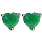Lovely 8Mm Heart Shape Inlaid Green Malaysian Jade Studs Earrings