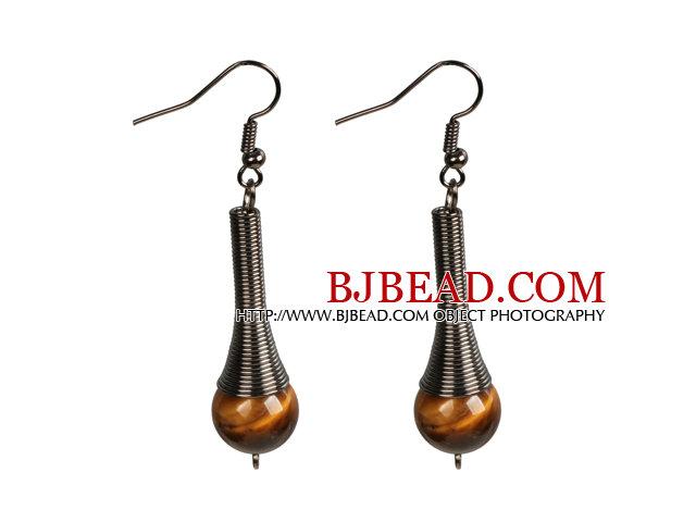Vintage Style Simple Tiger Eye Stone Beads Dangle Earrings