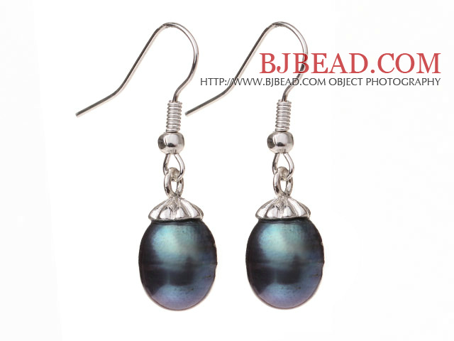Lovely Natural 10-11mm Black Freshwater Pearl And Silver Color Charm Drop Earrings With Fish Hook