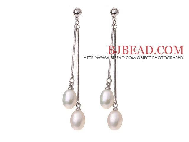 Lovely 8-9mm Natural Oval Shape White Freshwater Pearl Dangle Studs Earrings