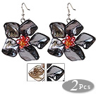 Newly Summer Design Lovely 2 Pairs Pearl Crystal Shell Flower Earrings with Fish Hook
