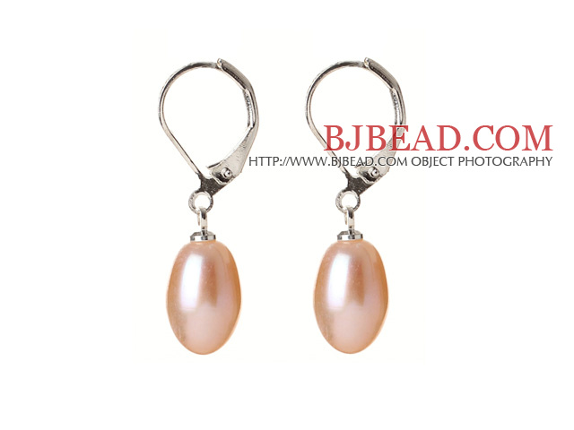 Elegant Natural Drop Shape Pink Freshwater Pearl Earrings with Lever Back Hook