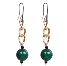 Beautiful Long Style Garnet Green Agate Beads Earrings with Golden Loop Charm