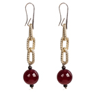 Beautiful Long Style Garnet Rose Red Agate Beads Earrings with Golden Loop Charm