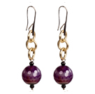 Beautiful Long Style Garnet Purple Agate Beads Earrings with Golden Loop Charm