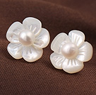 Cute Plum Flower Shape Shell and White Pearl 925 Sterling Silver Studs Earrings