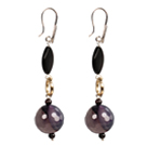 Chic Long Style Black Lip Shell Purple Agate Garnet Beads Dangle Earrings