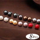 8 Pairs Charming Round Multi Color Seashell Beads Studs Earrings under $ 40