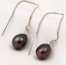 New Arrival Long Style Drop Shape Brown Pearl 925 Sterling Silver Ear Line Jewelry under $ 40