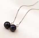 New Arrival Long Style AAA Grade Black Pearl 925 Sterling Silver Ear Line Jewelry under $ 40