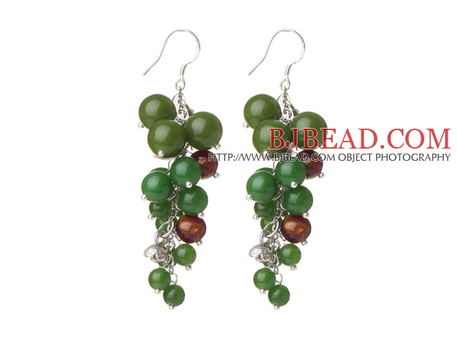 2014 Summer Lovely Style Round Green Jade and Glaze Beads Dangle Earrings with Fish Hook