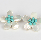 Elegant Style Turquoise and White Shell Flower Clip Earrings