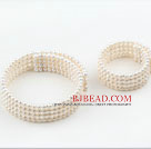 6-6.5mm Four Strands White Freshwater Pearl Bridal Set ( Choker Necklace and Matched Bracelet)