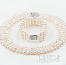 Four Strands White Freshwater Pearl Crystal Wedding / Bridal Sets