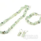 Fillet Prehnite Set with 925 Silver Clasp ( Necklace Bracelet and Matched Earrings )