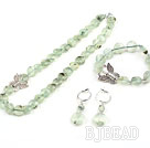 Natural Flat Round Prehnite Set with 925 Silver Butterfly Accessory ( Necklace Bracelet and Matched Earrings )