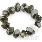 Natural Incidence Angle Green Garnet Stretch Bracelet with 925 Sterling Silver Accessory