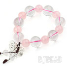 Natural Rose Quartz and Clear Crystal Stretch Bracelet with Thailand Silver Lotus Accessory