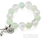 Clear Crystal and Prehnite Stretch Bracelet with 925 Sterling Silver Lotus Accessory