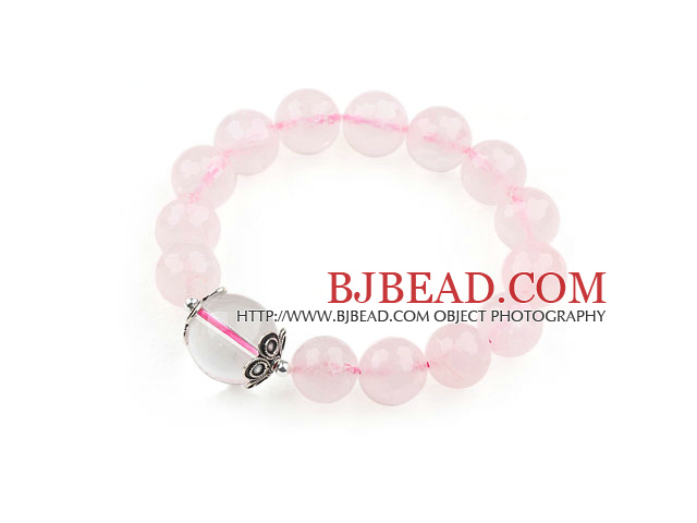 12mm Round Natural Rose Quartz and Clear Crystal Stretch Bracelet with Sterling Silver Accessory