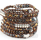 Long Style 4mm Golden Crystal Wrap Bangle Bracelet with Brown Thread and Shell Clasp under $ 40